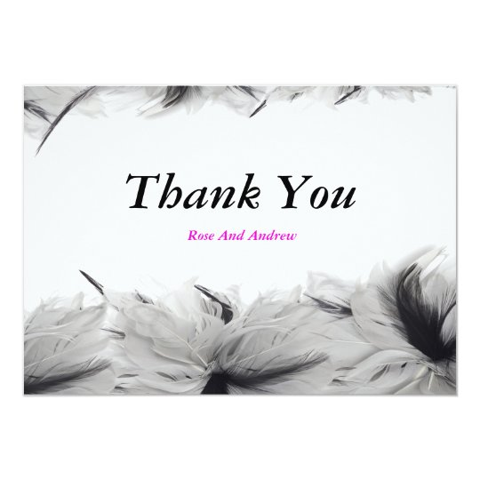 Black And White Feathers Invitation Card