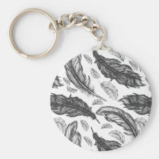 Black and White Feathers Keychain