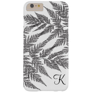 Black and White Fern Silhouette Monogram Barely There iPhone 6 Plus Case