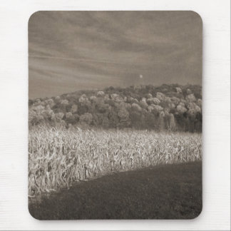 Black and White Fields Of Grain Mouse Pad