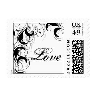 Black and White Filigree Vintage Scroll Wedding Stamp