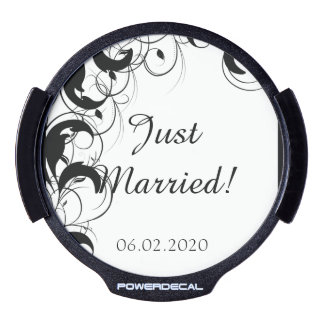 Black and White Filigree Wedding Car Decal LED Window Decal