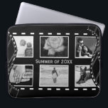 """Black and White Film Reel Computer Sleeve<br><div class=""""desc"""">Film reels evoke feelings of nostalgia,  this classic black and white design allows you to upload 6 photographs of treasured memories with your own message across the center. Detailed with curved film reels at the sides. Looks great with black and white or colored photographs.</div>"""