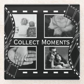 Black and White Film Reel Glass Coaster