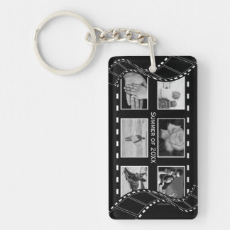 Black and White Film Reel Keychain