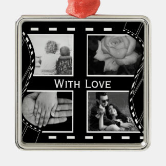Black and White Film Reel Metal Ornament