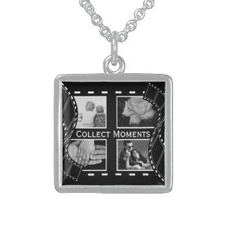 Black and White Film Reel Sterling Silver Necklace