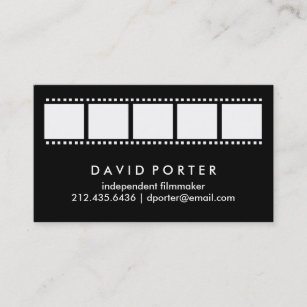 black and white film strip business card - Filmmaker Business Card