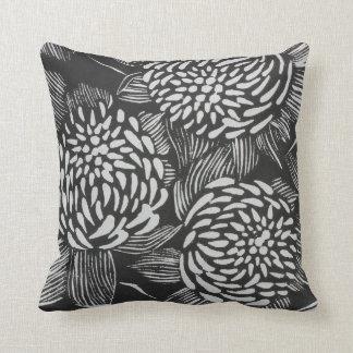 Black and white fine art linocut wildflowers throw pillow