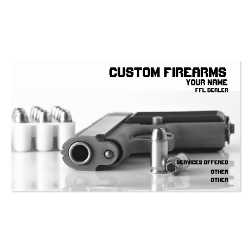 Black and White firearms ffl dealer Business card