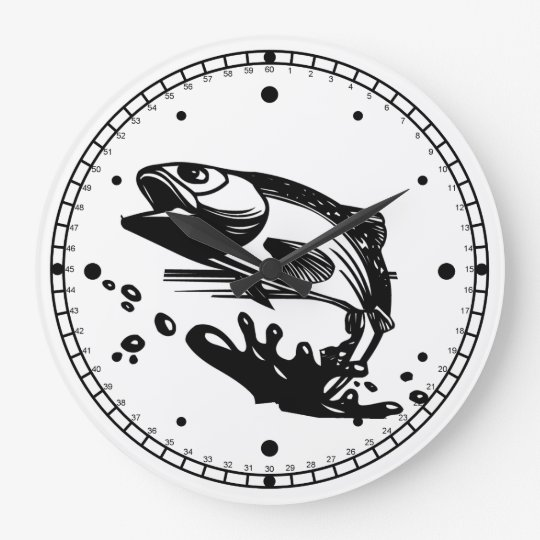 Black and White Fish Jumping out of Water Large Clock