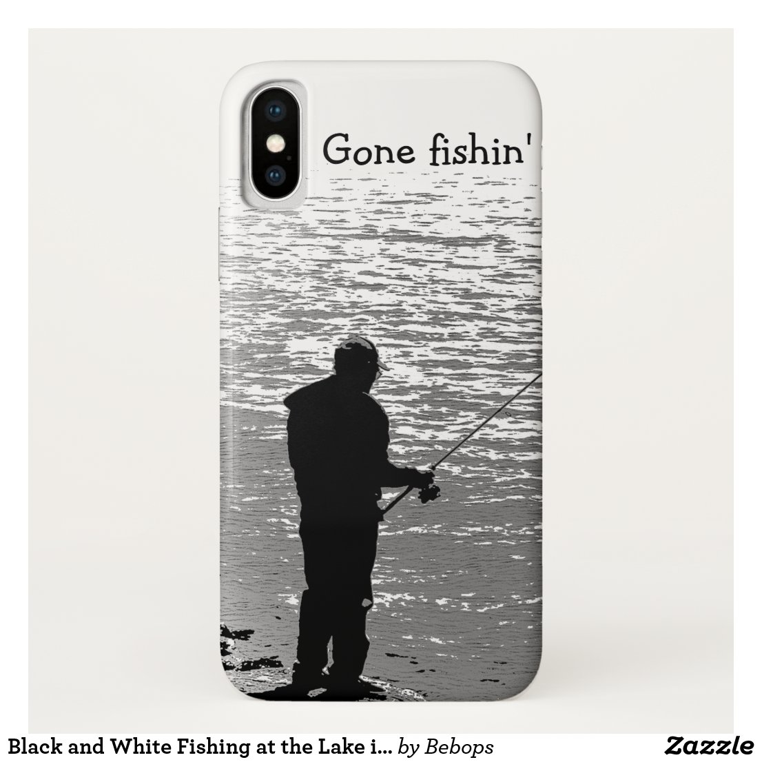 Black and White Fishing at the Lake iPhone X Case