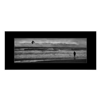 Black and White Fishing Photo Poster