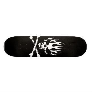 black and white flame skull skate board