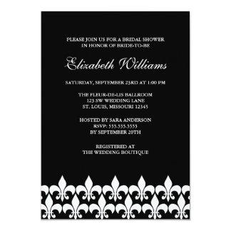Black and White Fleur de Lis Bridal Shower Card