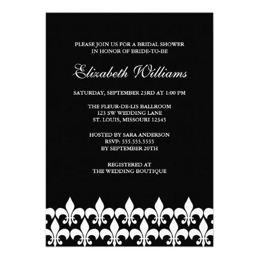 Black and White Fleur de Lis Bridal Shower Personalized Invite