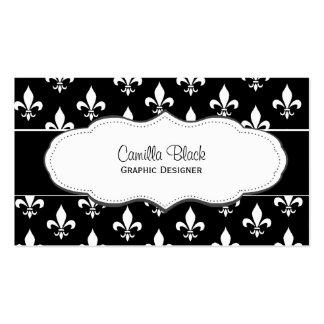 Black and White Fleur de Lis business cards