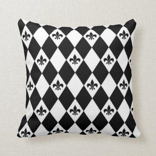 Black And White Fleur de lis Cushion Pillows
