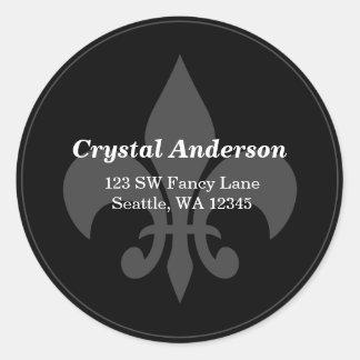 Black and White Fleur-De-Lis Custom Address Label Classic Round Sticker