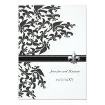 Black and White Fleur de Lis Design Wedding Invite