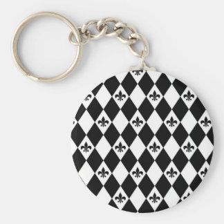 Black And White Fleur de lis Keychain