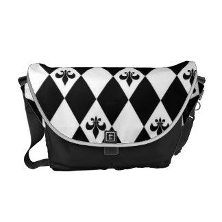 Black And White Fleur de lis Messenger Bag