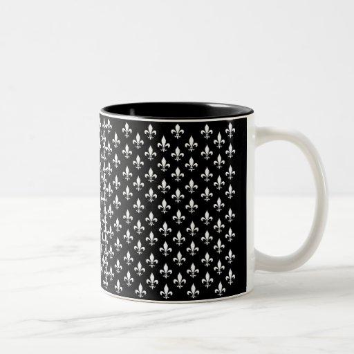 Black and White Fleur de Lis Pattern Two-Tone Coffee Mug