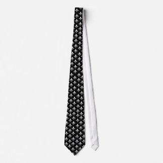 Black and White Fleur de Lis Pattern Neck Tie
