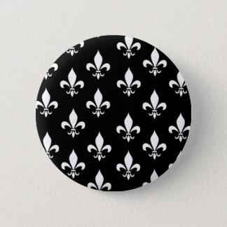 Black and White Fleur de Lis Pattern Pinback Button