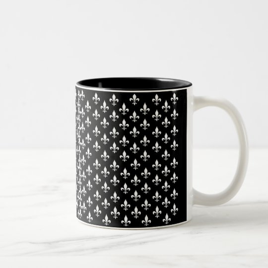 Black and White Fleur de Lis Pattern Two-Tone Coffee Mug