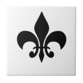 Black And White Fleur De  Lis Ceramic Tile