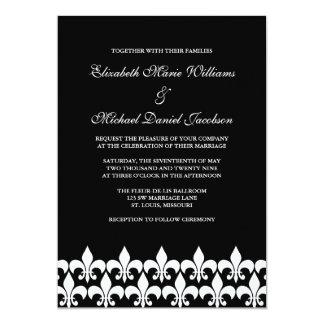 Black and White Fleur de Lis Wedding Card