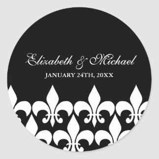 Black and White Fleur de Lis Wedding Favor Label Round Sticker