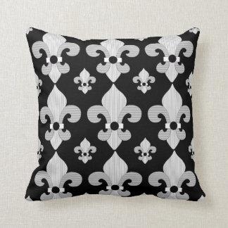 Black and White Fleur de Lys Design Pillow