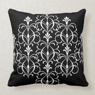 Black And White Fleur Design Throw Pillow