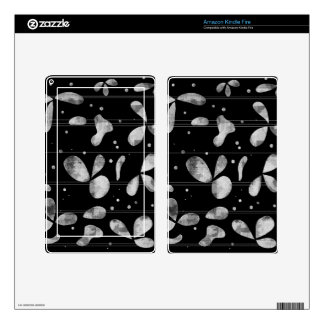 Black and white floral abstraction decal for kindle fire