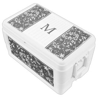 Black and White Floral Accent Wedding Cooler