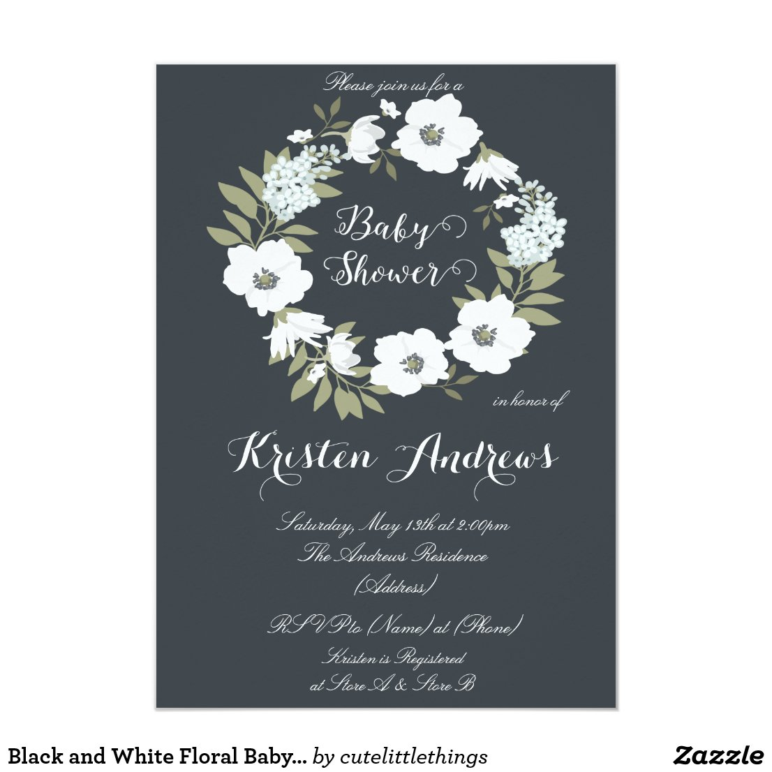 Black and White Floral Baby Shower Invitation