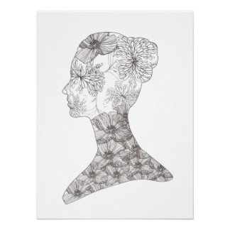 Black and White Floral Beauty Girl  Salon and Spa Poster