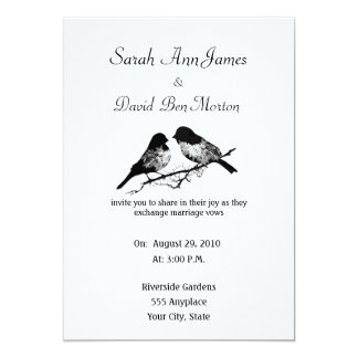 Black and White Floral Bird Nature Wedding Card