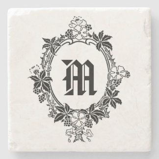 Black and White Floral Border with Monogram Stone Coaster