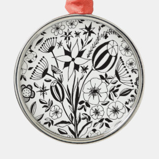 Black and white Floral bouquet Metal Ornament