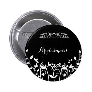 Black and White Floral - Bridesmaid Pins