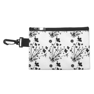 Black And White Floral Burst Accessories Bag