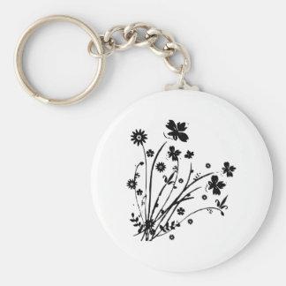 Black and White Floral Burst Basic Round Button Keychain