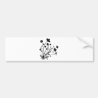 Black and White Floral Burst Bumper Stickers