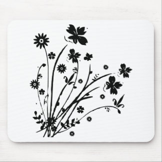 Black And White Floral Burst Mouse Pad