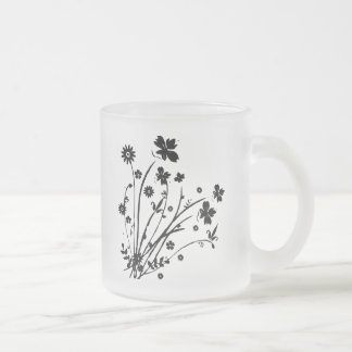 Black and White Floral Burst Coffee Mugs
