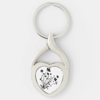 Black And White Floral Burst Silver-Colored Heart-Shaped Metal Keychain