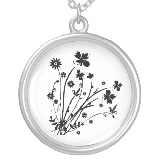 Black and White Floral Burst Round Pendant Necklace